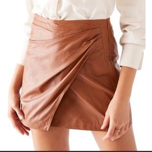 NWT Free People Mini Skirt + Size 8 + Faux Leather